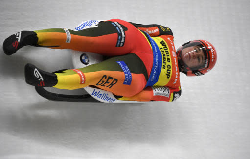 Natalie Geisenberger of Germany speeds down the track during a women's race at the Luge World Cup event in Sigulda, Latvia, Saturday, Jan. 12, 2019. (AP Photo/Roman Koksarov)