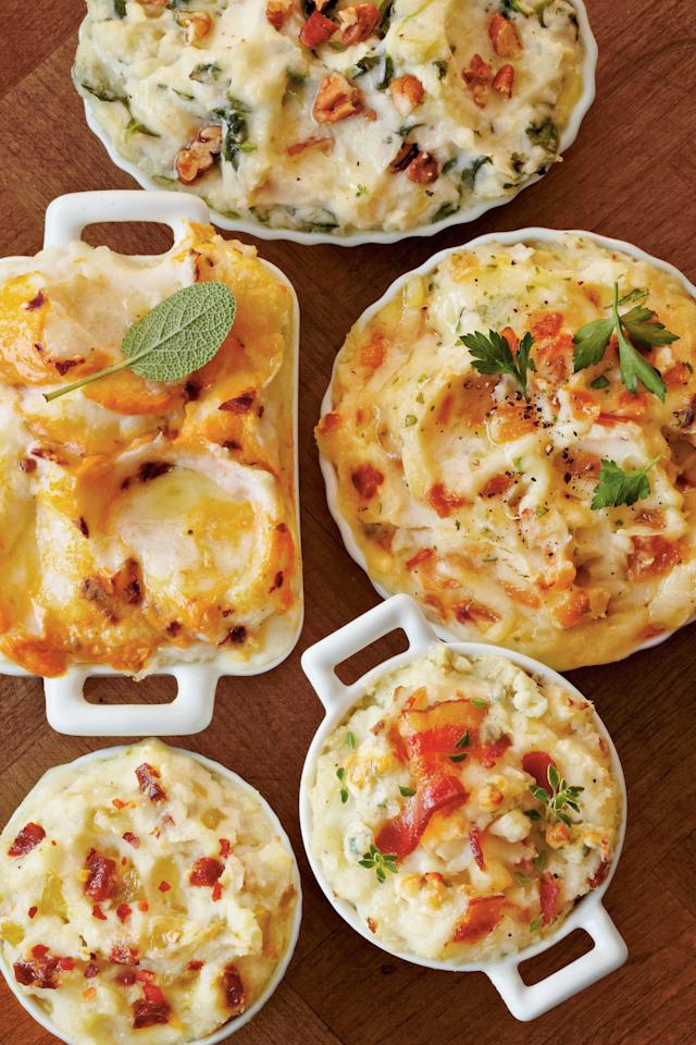 """<p>Mix up your mashed potatoes routine by trying one of these 5 delicious variations. Tasty additions like caramelized onions and chorizo sausage will make these baked mashed potatoes a family favorite.</p> <p><strong>Variation 1: <a href=""""https://www.southernliving.com/syndication/smoky-mashed-sweet-potato-bake"""">Smoky Sweet Potato Mashed Potato Bake</a></strong><br /><strong>Variation 2: <a href=""""https://www.southernliving.com/syndication/creamy-spinach-mashed-potato-bake"""">Creamy Spinach Mashed Potato Bake</a></strong><br /><strong>Variation 3: <a href=""""https://www.southernliving.com/recipes/baked-mashed-potatoes-caramelized-onion"""" target=""""_blank"""">Caramelized Onion Mashed Potato Bake</a></strong><br /><strong>Variation 4: <a href=""""https://www.southernliving.com/syndication/bacon-blue-mashed-potato-bake"""">Bacon and Blue Mashed Potato Bake</a></strong><br /><strong>Variation 5: <a href=""""https://www.southernliving.com/syndication/tasty-tex-mex-mashed-potato-bake"""">Tasty Tex-Mex Mashed Potato Bake</a></strong></p>"""
