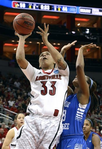 Louisville's Monique Reid (33) shoots over Middle Tennessee's Icelyn Elie during the second half of a first-round game in the women's NCAA college basketball tournament in Louisville, Ky., Sunday, March 24, 2013. Louisville won 74-49. (AP Photo/Timothy D. Easley)