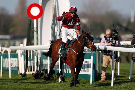 Horse Racing - Grand National Festival - Aintree Racecourse, Liverpool, Britain - April 6, 2019 Tiger Roll ridden by Davy Russell celebrates winning the 5.15 Randox Health Grand National Handicap Chase Action Images via Reuters/Paul Childs
