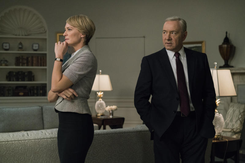 "Robin Wright and Kevin Space in Season 5 of ""House of Cards."" (Netflix)"