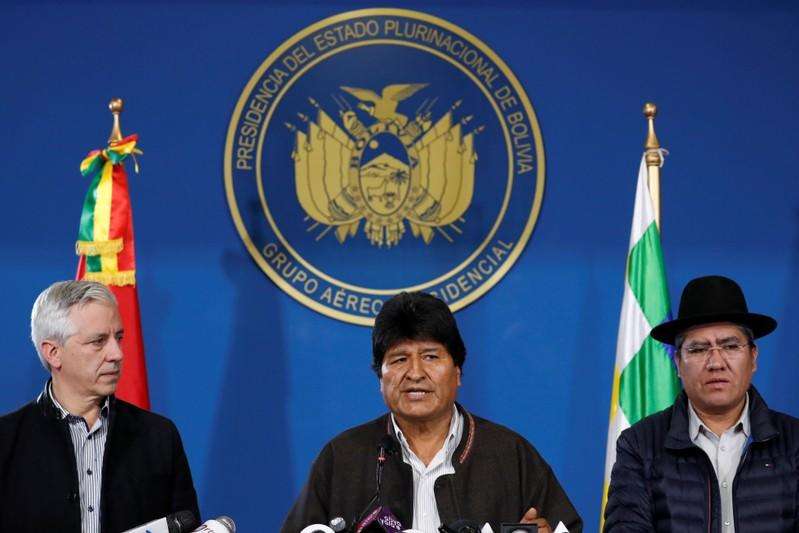 Bolivia's President Evo Morales addresses the media in El Alto