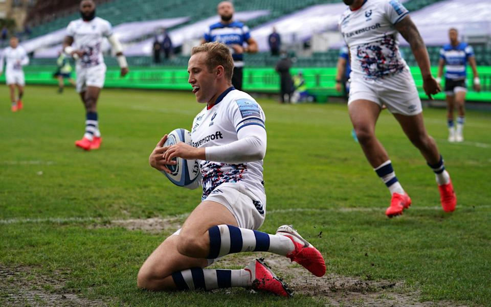 Bristol Bears' Max Malins scores a try but is disallowed due to a forward pass during the Gallagher Premiership match at the Recreation Ground, Bath. Picture date: Saturday May 8, 2021. - PA