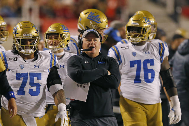 UCLA head coach Chip Kelly looks on in the second half during an NCAA college football game against Utah Saturday, Nov. 16, 2019, in Salt Lake City. (AP Photo/Rick Bowmer)