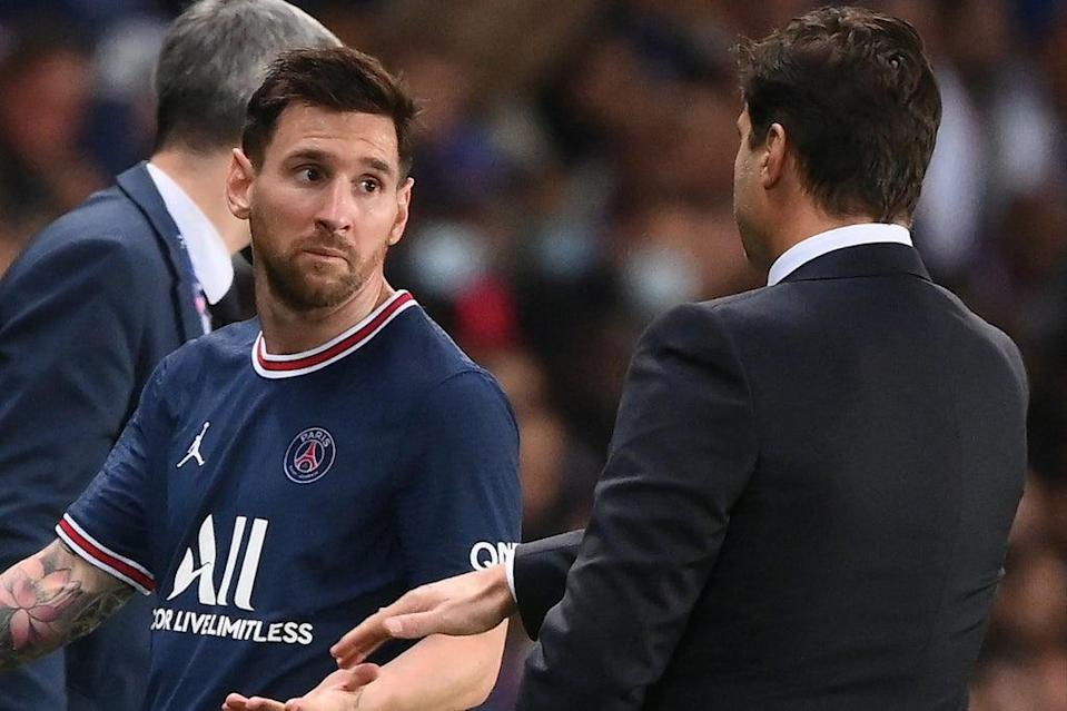 Lionel Messi was unhappy with Mauricio Pochettino after being subbed against Lyon  (AFP via Getty Images)