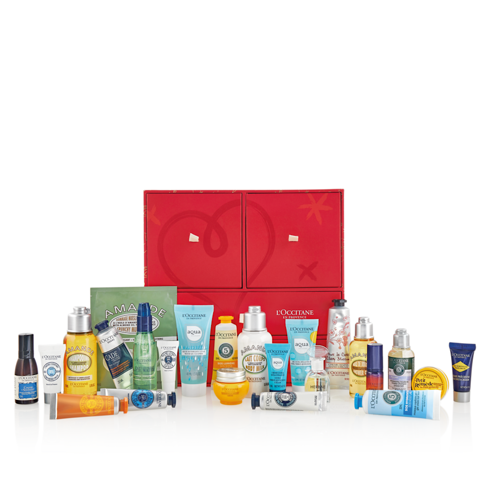 """<p>loccitane.com</p><p>$104</p><p><a class=""""link rapid-noclick-resp"""" href=""""https://go.redirectingat.com?id=74968X1596630&url=https%3A%2F%2Fwww.loccitane.com%2Fen-us%2Fpremium-advent-calendar-10CAMAG20.html&sref=https%3A%2F%2Fwww.townandcountrymag.com%2Fstyle%2Fbeauty-products%2Fnews%2Fg2919%2Fbeauty-advent-calendars%2F"""" rel=""""nofollow noopener"""" target=""""_blank"""" data-ylk=""""slk:SHOP NOW"""">SHOP NOW</a></p><p><strong>Best For: </strong>Anyone who steals the toiletries for luxury hotels. </p><p><strong>What's Inside:</strong> Skin-coddling products like L'Occitane's best-selling shea butter hand cream, award-winning Immortelle Overnight Reset Oil-in-Serum, silkening hair masks, and even a relaxing pillow mist for a full self-care experience. </p>"""