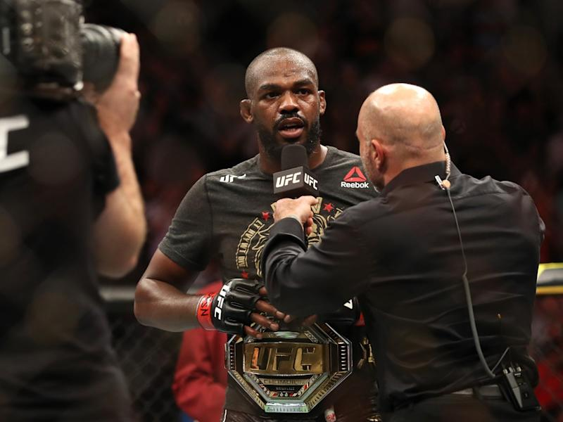 Jon Jones after successfully defending his title against Thiago Santos in 2019: Getty Images