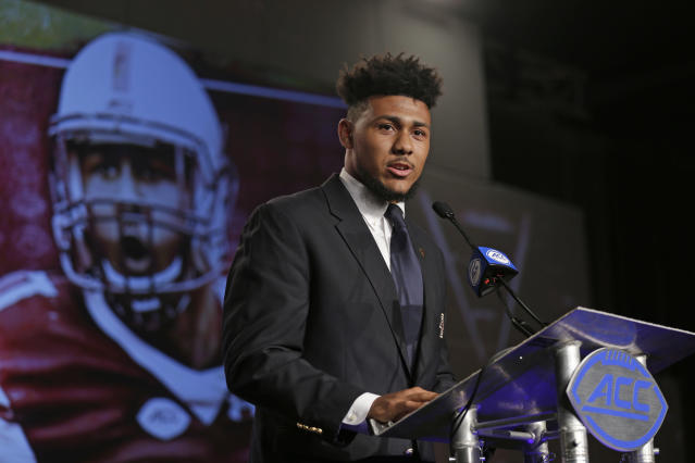 Boston College's Harold Landry speaks to the media during the Atlantic Coast Conference media day on July 13. (AP)