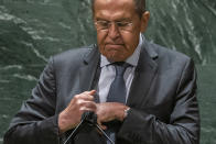 Russia's Foreign Minister Sergei Lavrov gestures after addressing the 76th Session of the U.N. General Assembly at United Nations headquarters in New York, on Saturday, Sept. 25, 2021. (Eduardo Munoz /Pool Photo via AP)