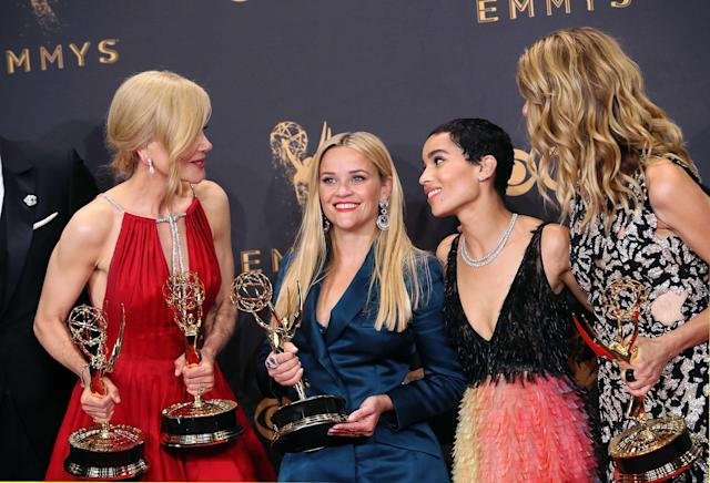 """The women-dominated cast of """"Big Little Lies"""" won big at the 2017 Emmys. (David Livingston via Getty Images)"""