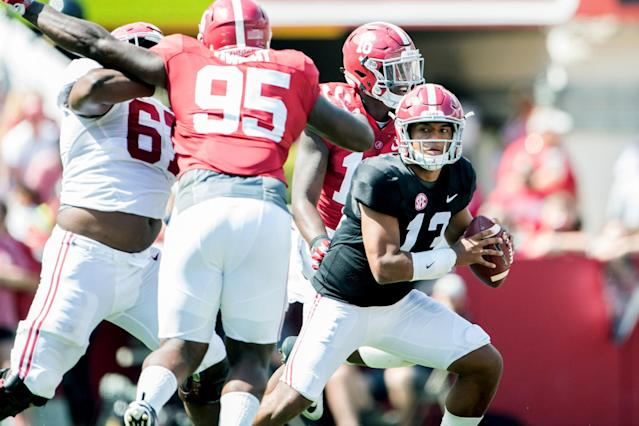 Alabama QB Tua Tagovailoa (13) impressed in his first action at Bryant Denny Stadium. (Getty Images)