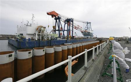 TEPCO employee stands next to an impervious wall installed along the coast in Fukushima