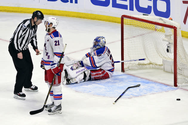 "<a class=""link rapid-noclick-resp"" href=""/nhl/teams/nyr/"" data-ylk=""slk:New York Rangers"">New York Rangers</a> goalie <a class=""link rapid-noclick-resp"" href=""/nhl/players/2645/"" data-ylk=""slk:Henrik Lundqvist"">Henrik Lundqvist</a> (30) and centre <a class=""link rapid-noclick-resp"" href=""/nhl/players/4992/"" data-ylk=""slk:Derek Stepan"">Derek Stepan</a> (21) react after the <a class=""link rapid-noclick-resp"" href=""/nhl/teams/ott/"" data-ylk=""slk:Ottawa Senators"">Ottawa Senators</a> scored late to tie the game during the third period in game five of a second-round NHL hockey Stanley Cup playoff series in Ottawa on Saturday, May 6, 2017. THE CANADIAN PRESS/Sean Kilpatrick"
