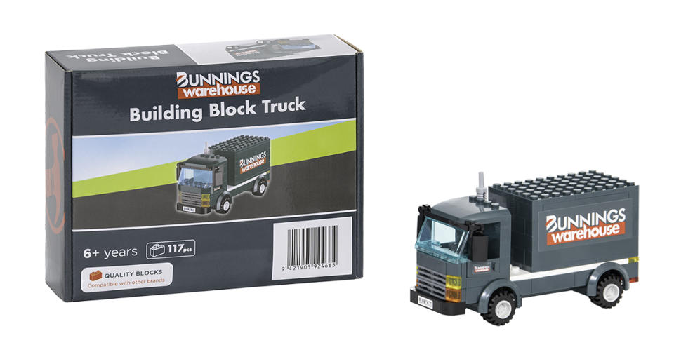 Bunnings has revealed the first add-on for it's popular Block Warehouse: the Building Block Truck. Photo: supplied.
