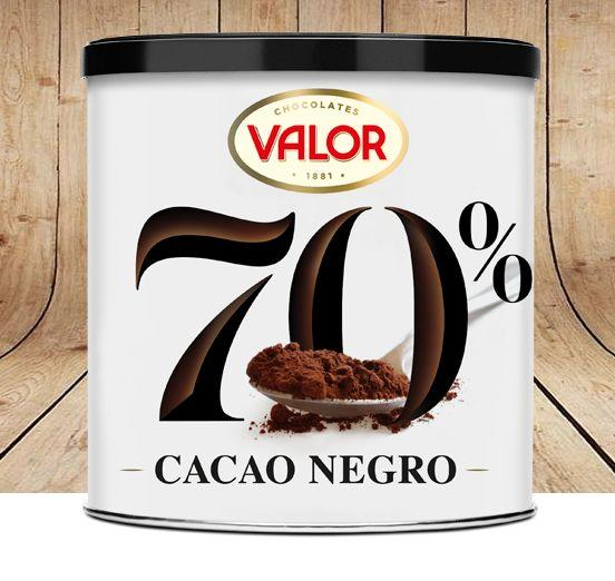 Chocolates Valor, soluble 70% cacao negro y soluble 100% cacao puro natural.