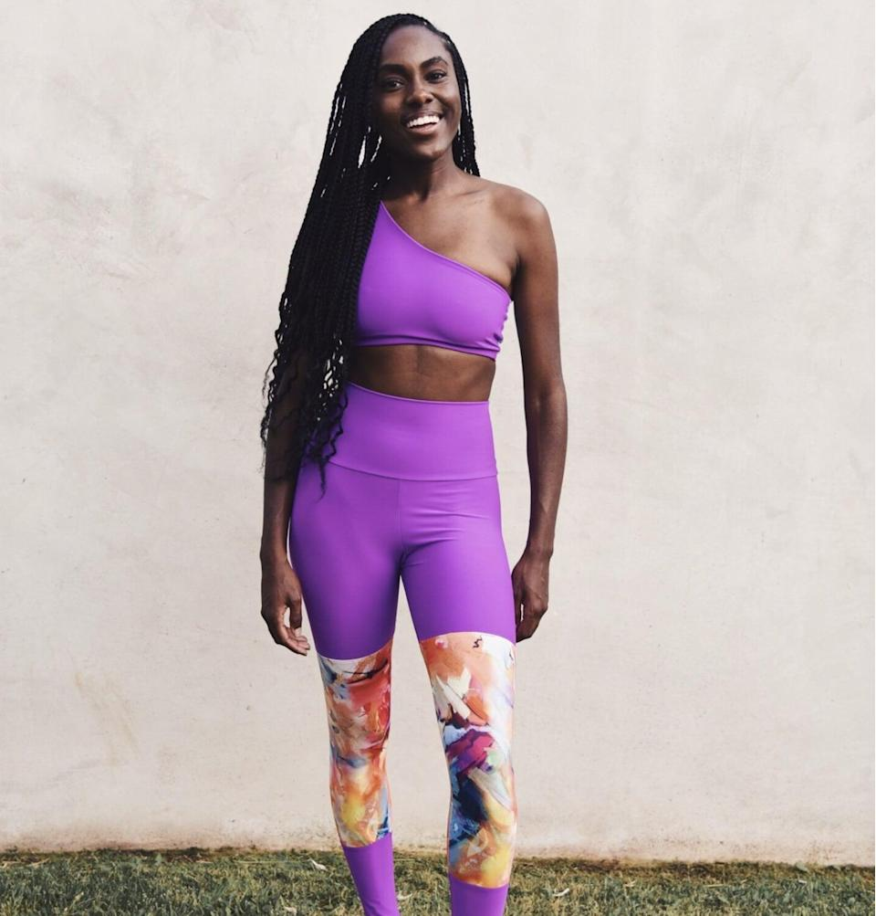 <p>There's no need to choose between bright colors and splashy patterns with the <span>Beach Hours Aria Color Block Leggings</span> ($55). With an electric-purple base and colorful panels below the knee, these leggings are the best of both worlds.</p>