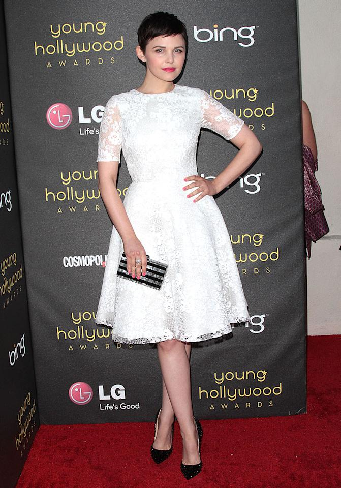 "The best-dressed beauty at this year's Young Hollywood Awards was undoubtedly Ginnifer Goodwin. The ""Once Upon A Time"" star has been known to sport an eyesore from time to time, but on this occasion she opted for a feminine Monique Lhuillier dress that was equal parts sweet and chic. Spiky Louboutins, a striped clutch, and pink nails completed her lovely look. (6/14/2012)"