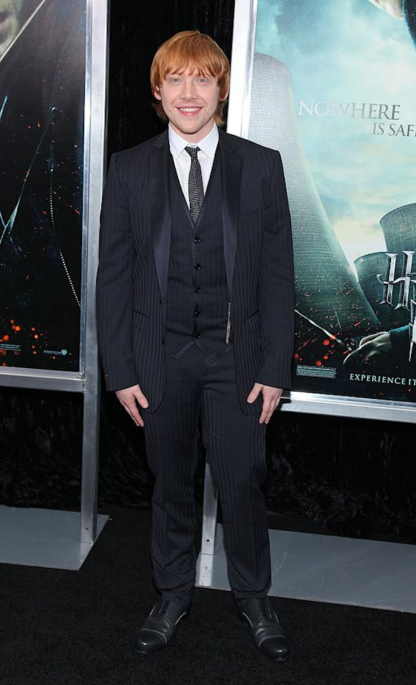 """<a href=""""http://movies.yahoo.com/movie/contributor/1802866082"""">Rupert Grint</a> attends the New York premiere of <a href=""""http://movies.yahoo.com/movie/1810004780/info"""">Harry Potter and the Deathly Hallows - Part 1</a> on November 15, 2010."""