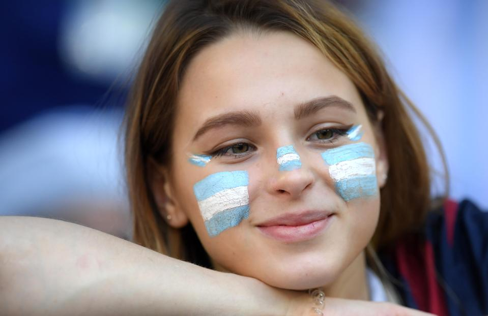 <p>An Argentina fan looks on prior to the 2018 FIFA World Cup Russia group D match between Argentina and Iceland at Spartak Stadium on June 16, 2018 in Moscow, Russia. (Photo by David Ramos – FIFA/FIFA via Getty Images) </p>