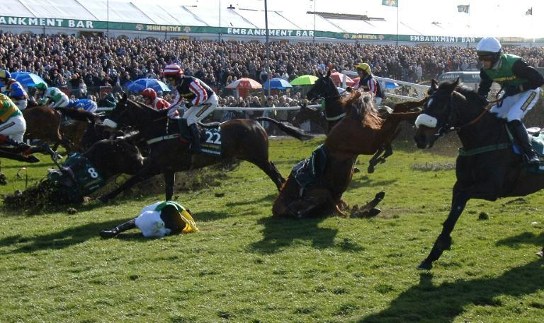 Mick Fitzgerald pictured on the ground after a fall in the 2006 Grand National