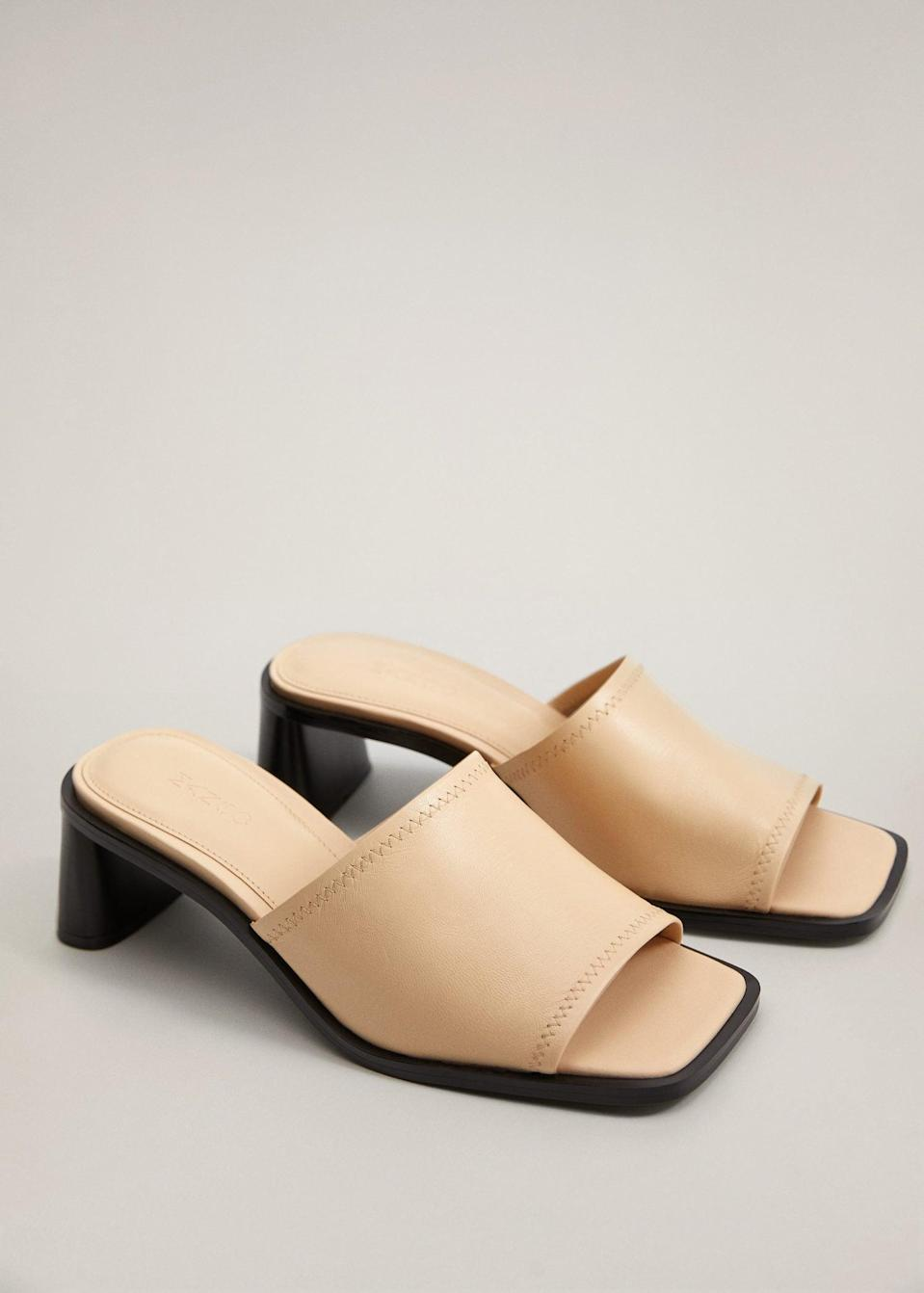"$80, Mango. <a href=""https://shop.mango.com/us/women/shoes-heeled-sandals/heel-leather-mules_67005943.html"" rel=""nofollow noopener"" target=""_blank"" data-ylk=""slk:Get it now!"" class=""link rapid-noclick-resp"">Get it now!</a>"