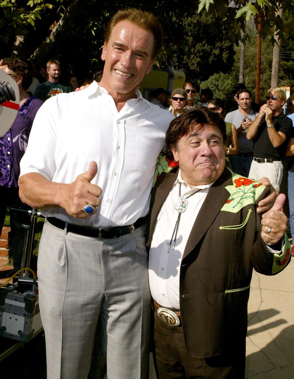 Governor Arnold Schwarzenegger and Danny DeVito at the The Set of