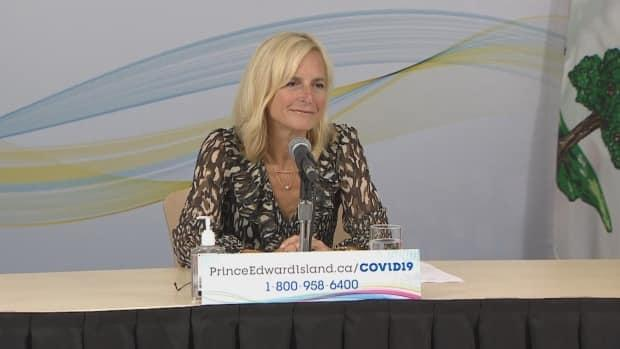 Dr. Heather Morrison speaks at a COVID-19 briefing on Sept. 15, 2021. (CBC - image credit)