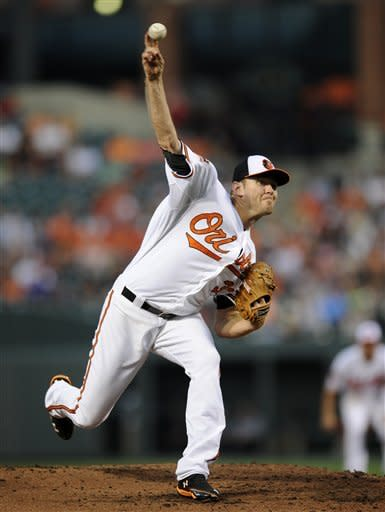 Baltimore Orioles starting pitcher Chris Tillman delivers against the Boston Red Sox during the second inning of a baseball game on Thursday, Aug. 16, 2012, in Baltimore. (AP Photo/Nick Wass)