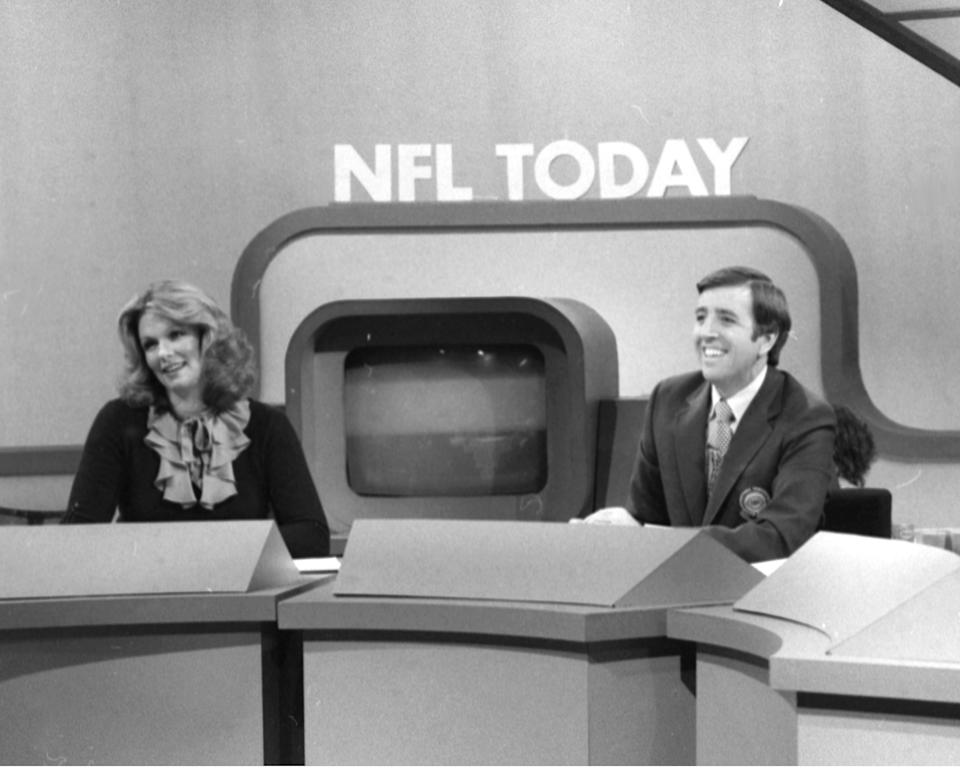 The NFL Today on CBS Sports with former Miss America and now reporter Phyllis George and journalist Brent Musburger. (Photo By: Richard Lee/NY Daily News via Getty Images)