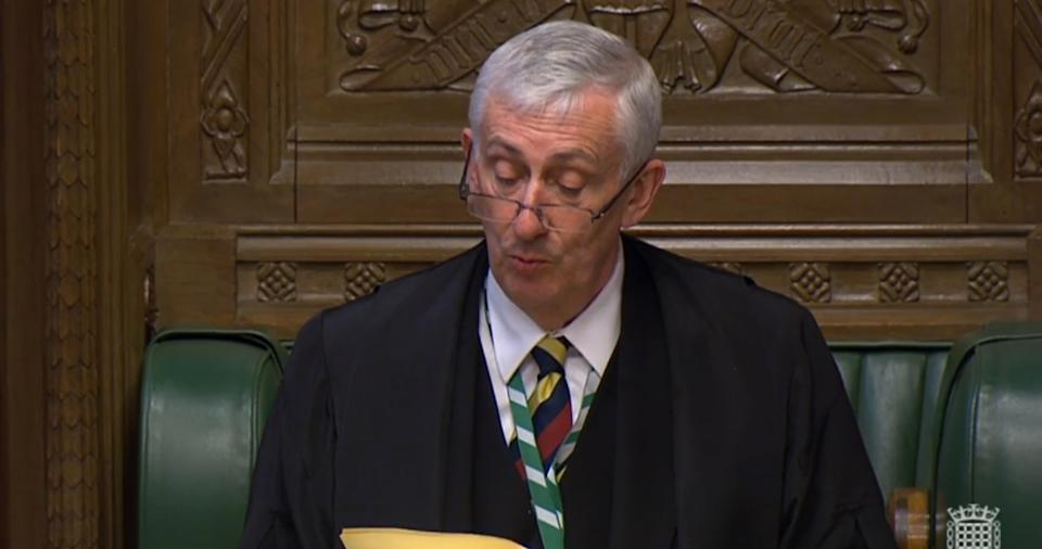 Speaker Sir Lindsay Hoyle speaks in the House of Commons, London, as MPs gathered for the first time since March 25, following the Easter recess and due to the coronavirus outbreak.