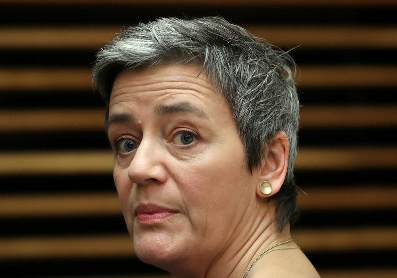 FILE PHOTO: European Competition Commissioner Margrethe Vestager attends the weekly College of Commissioners meeting in Brussels