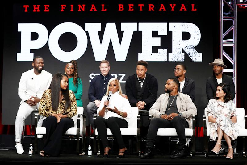 Mary J. Blige, second from left in the front row, talks about starring in Starz's 'Power' sequel, 'Power Book II: Ghost,