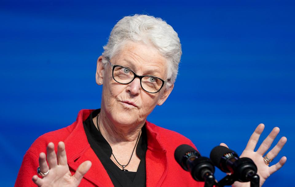 Former EPA chief Gina Mccarthy, U.S. President-elect Joe Biden's nominee for National Climate Adviser, speaks after Biden announced her nomination among another round of nominees and appointees for his administration in Wilmington, Delaware, U.S., December 19, 2020. REUTERS/Kevin Lamarque