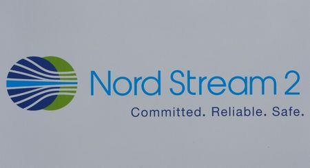 The logo of the Nord Stream-2 gas pipeline project is seen on a board at the SPIEF 2017 in St. Petersburg Russia