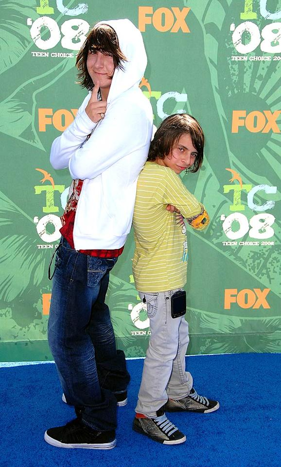 """Hannah Montana"" stars Mitchel Musso and Moises Arias kept it casual in jeans and sneakers. Steve Granitz/<a href=""http://www.wireimage.com"" target=""new"">WireImage.com</a> - August 3, 2008"