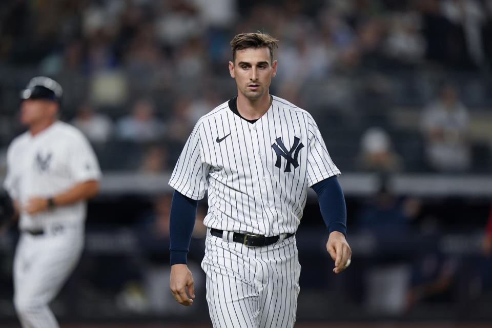 New York Yankees' Tim Locastro reacts after striking out during the sixth inning of a baseball game against the Boston Red Sox, Friday, July 16, 2021, in New York. (AP Photo/Frank Franklin II)