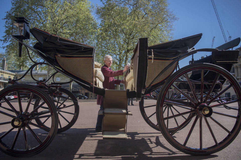 The Ascot Landau carriage that will be used in case of dry weather on the wedding day [Photo: PA]