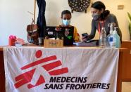 Workers at Médecins Sans Frontières (MSF), are pictured at their office in Beirut