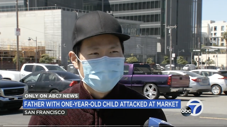 <p>A man named Bruce describes being punched to the ground on a San Francisco street</p> (ABC7)