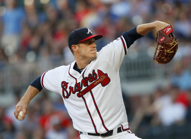 Atlanta Braves starting pitcher Matt Wisler works inn the first inning of a baseball game against the Miami Marlins, Friday, May 18, 2018, in Atlanta. (AP Photo/John Bazemore)