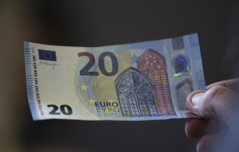 A new 20 Euro banknote is presented at the Austrian national bank in Vienna