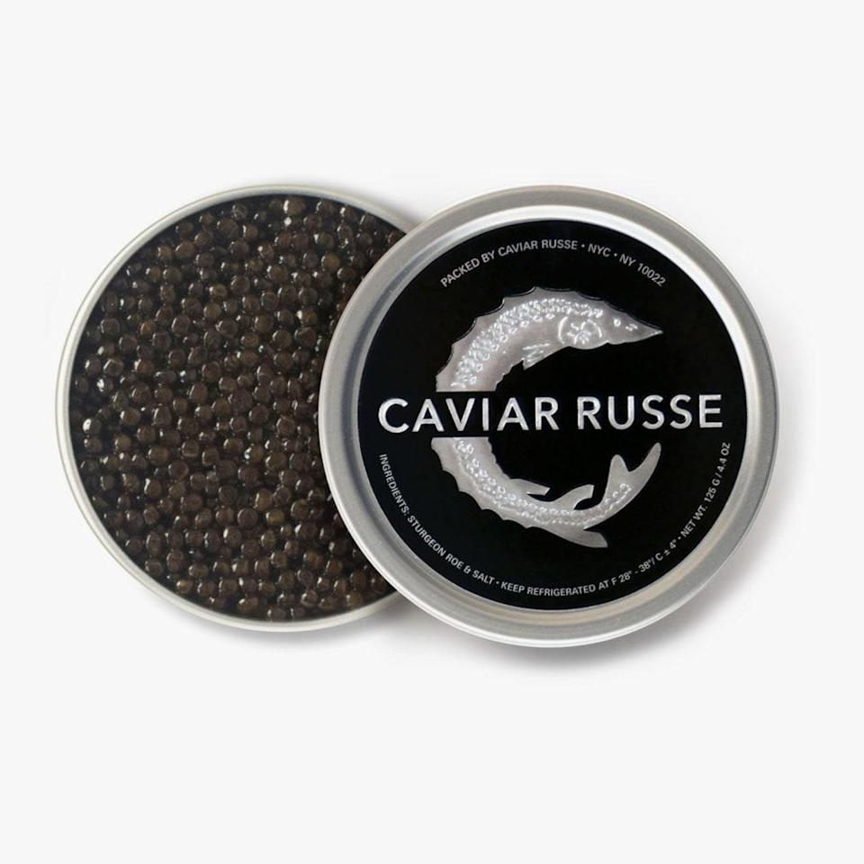 """The recipient of Caviar Russe—a sustainably harvested and imported luxury—will be sure to put you on their nice list. $95, Caviar Russe. <a href=""""https://www.caviarrusse.com/products/caspian-sea-classic-osetra-caviar"""" rel=""""nofollow noopener"""" target=""""_blank"""" data-ylk=""""slk:Get it now!"""" class=""""link rapid-noclick-resp"""">Get it now!</a>"""
