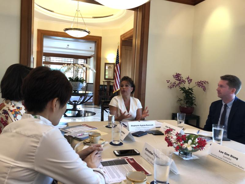 Stephanie Syptak-Ramnath, outgoing charge d'Affaires at the United States embassy in Singapore, addresses reporters at the Ambassador's official residence on Friday, 12 July 2019. PHOTO: Nicholas Yong/Yahoo News Singapore