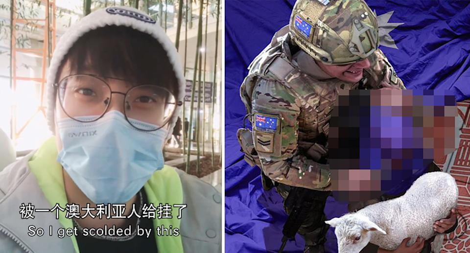 Wuheqilin addressed Scott Morrison in a video on Monday (left) regarding his shocking graphic image (right). Source: Weibo/ Twitter/ Zhao Lijian