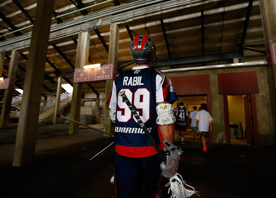 Paul Rabil, then with the Boston Cannons, walks through Harvard Stadium before a game against the Denver Outlaws in 2014. (Getty)