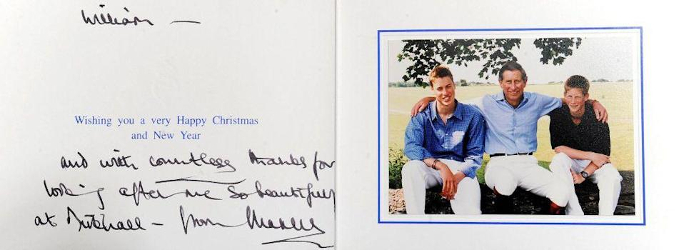 <p>A personal holiday note written by Charles to William Tallon, a staff member of the Queen Mother's at Clarence House, features the Prince of Wales with his two grown sons.</p>
