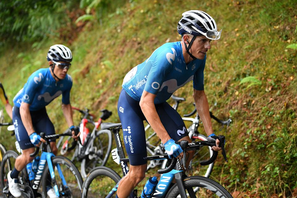 LAGOS DE COVADONGA, SPAIN - SEPTEMBER 01: (L-R) Miguel Ángel López Moreno of Colombia and Enric Mas Nicolau of Spain and Movistar Team compete during the 76th Tour of Spain 2021, Stage 17 a 185,5km stage from Unquera to Lagos de Covadonga 1.085m / @lavuelta / #LaVuelta21 / on September 01, 2021 in Lagos de Covadonga, Spain. (Photo by Tim de Waele/Getty Images)