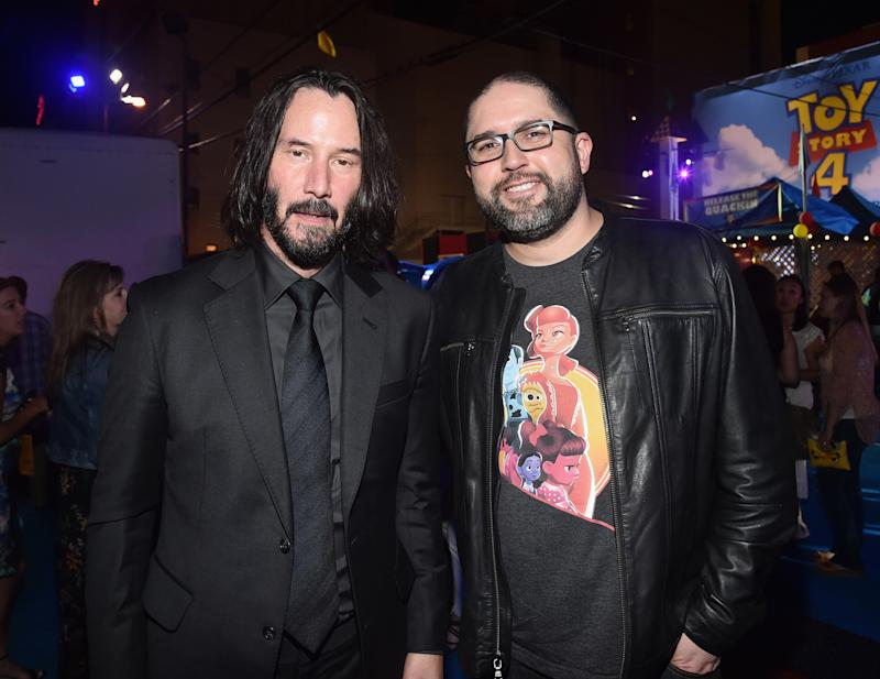 HOLLYWOOD, CA - JUNE 11: (L-R) Keanu Reeves and director Josh Cooley attend the world premiere of Disney and Pixar's TOY STORY 4 at the El Capitan Theatre in Hollywood, CA on Tuesday, June 11, 2019. (Photo by Alberto E. Rodriguez/Getty Images for Disney)