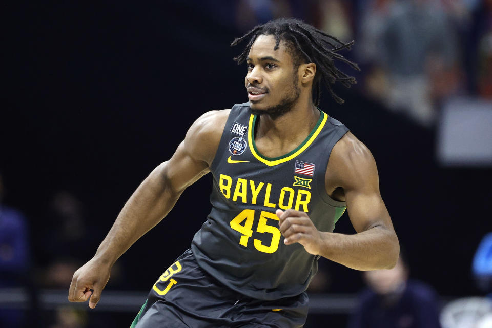 INDIANAPOLIS, INDIANA - APRIL 05: Davion Mitchell #45 of the Baylor Bears reacts against the Gonzaga Bulldogs in the National Championship game of the 2021 NCAA Men's Basketball Tournament at Lucas Oil Stadium on April 05, 2021 in Indianapolis, Indiana. (Photo by Tim Nwachukwu/Getty Images)