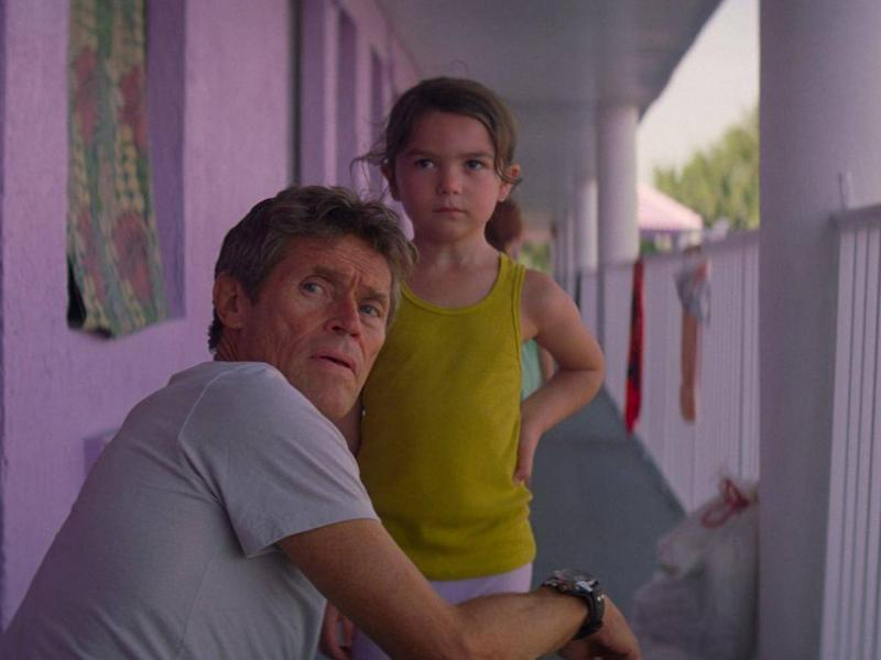 Dafoe (with Brooklynn Prince) plays a motel manager in Sean Baker's new film 'The Florida Project' (Rex)